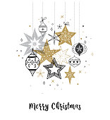 Collection of snowflakes, stars, Christmas decorations, greeting card template