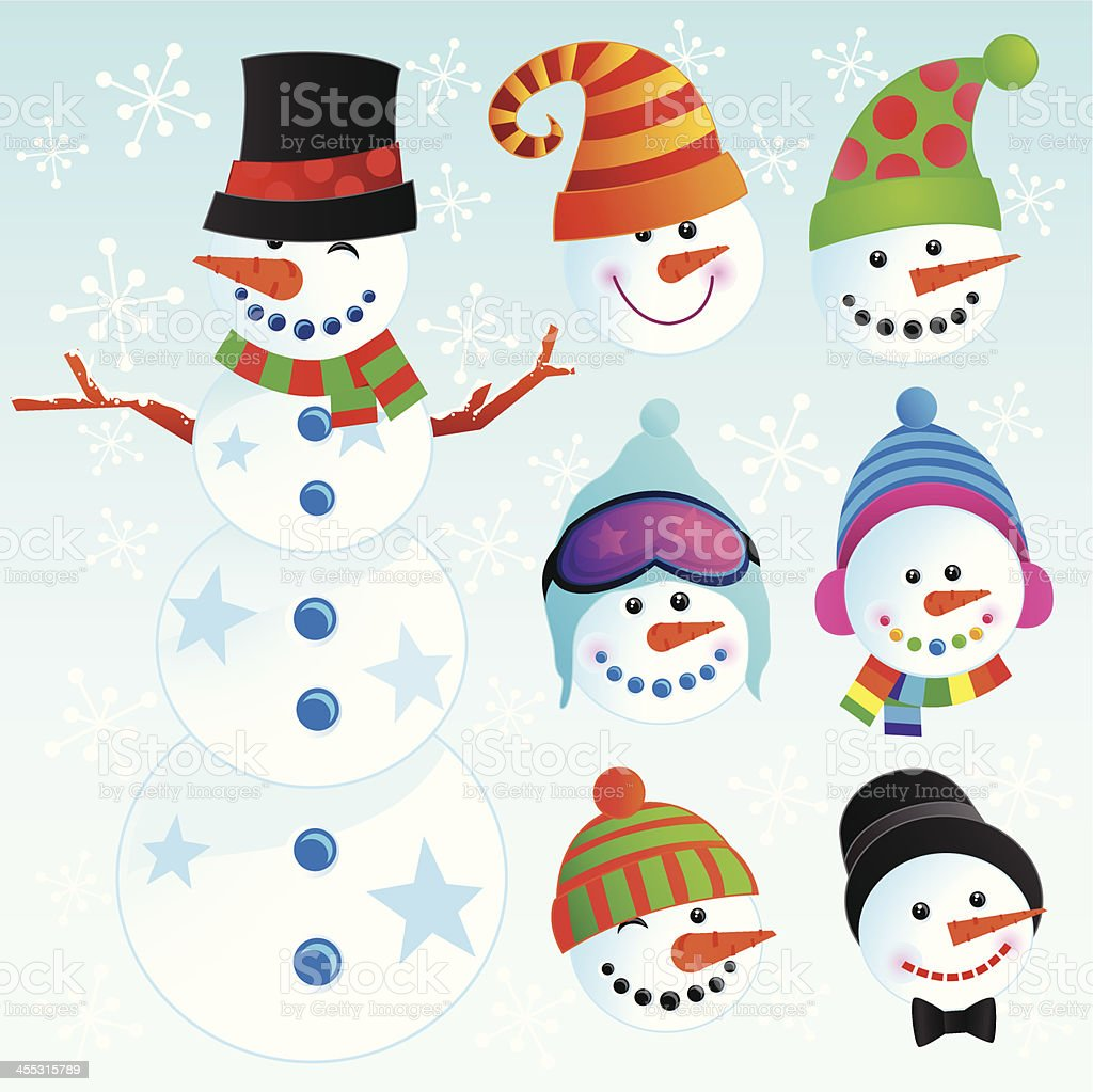 A collection of snowmen illustrations royalty-free stock vector art