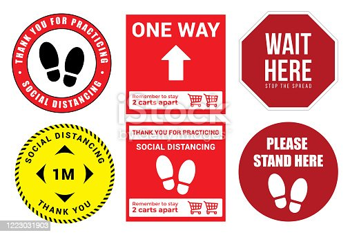 Collection of Social distancing graphic signs to use in the public queues in vector format