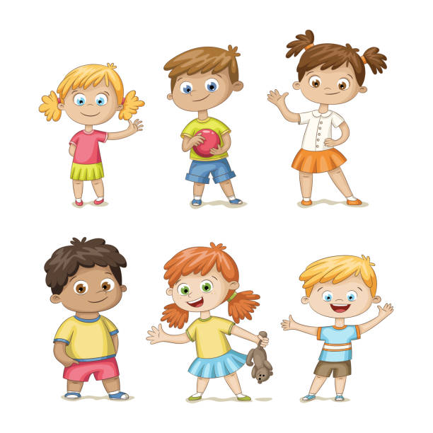collection of some cute children - maluch stock illustrations
