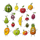 Collection of some different cartoon fruits. Isolated on white background, with separate layers.