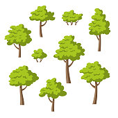 Collection of some different cartoon trees and bushes. Isolated on white background.