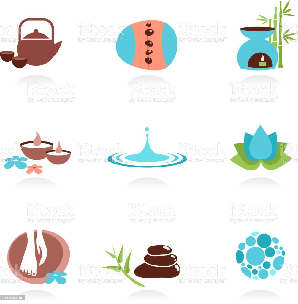 Collection of spa icons and graphic elements vector art illustration