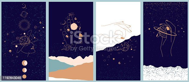 istock Collection of space and mysterious illustrations for Mobile App, Landing page, Web design in hand drawn style. 1192843045