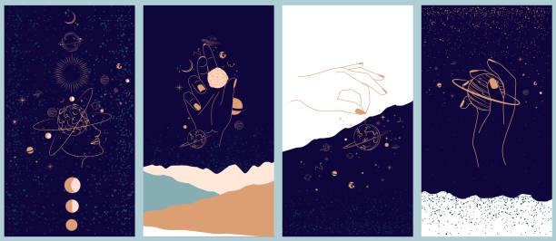 ilustrações de stock, clip art, desenhos animados e ícones de collection of space and mysterious illustrations for mobile app, landing page, web design in hand drawn style. - astrologia