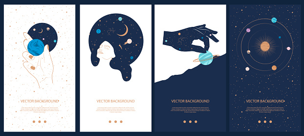 Collection of space and mysterious illustrations for stories templates