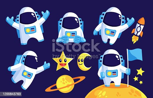 collection of space Astronaut mascot in flat design style