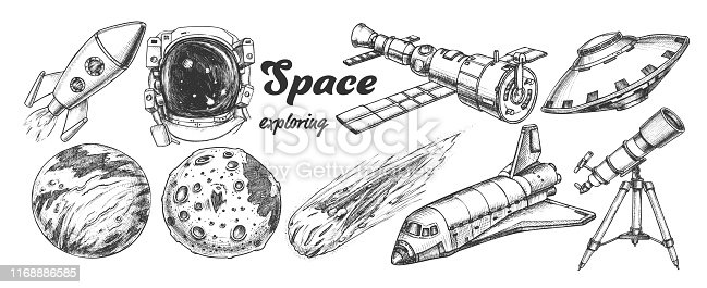 Collection Of Space Exploring Elements Set Vector