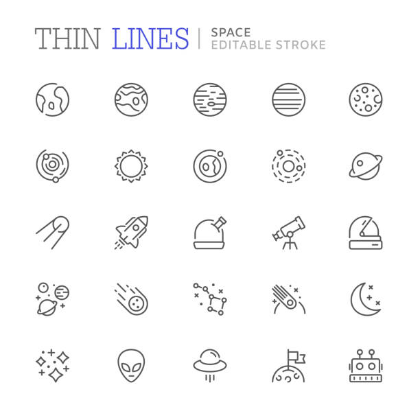 collection of space related line icons. editable stroke - astronomy telescope stock illustrations