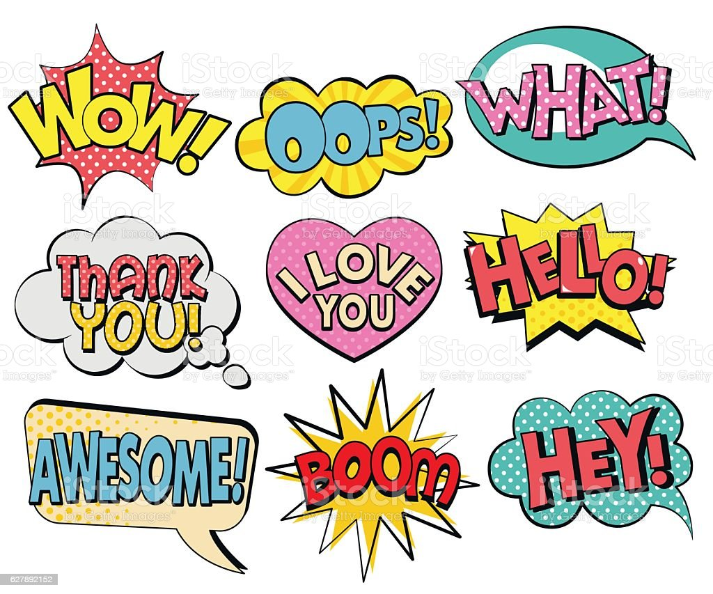 Collection of speech bubbles in retro style vector art illustration