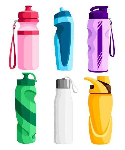 illustrations, cliparts, dessins animés et icônes de collection de bouteilles de sport. bouteille en plastique de bicyclette. activités de plein air. différentes formes de récipients pour l'eau. illustration vectorielle isolée sur fond blanc - bouteille d'eau