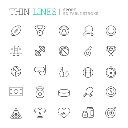 Collection of sport related line icons. Vector eps8