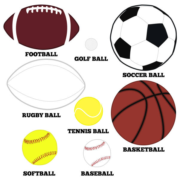 collection of sports balls - softball stock illustrations, clip art, cartoons, & icons