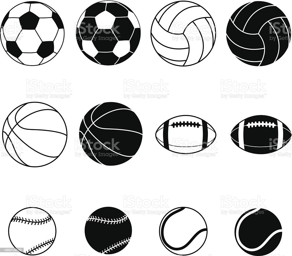 Collection Of Sports Balls Vector Illustration vector art illustration