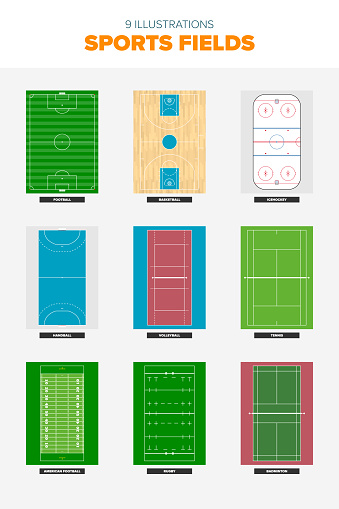 Collection of sports field illustrations