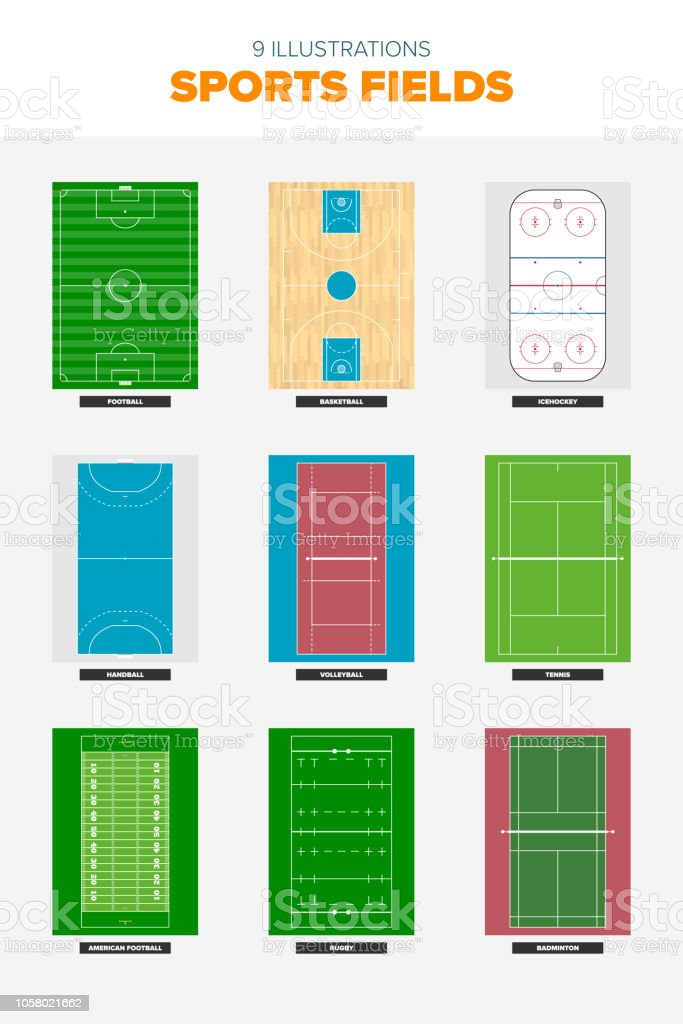 Collection of sports field illustrations vector art illustration