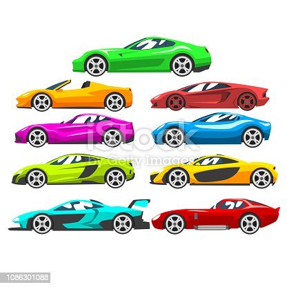 istock Collection of sports racing cars, colorful supercar, side view vector Illustration on a white background 1086301088