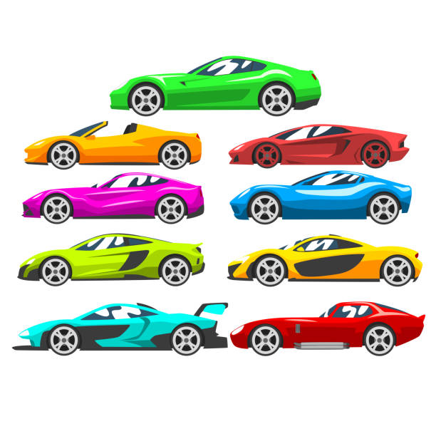 Collection of sports racing cars, colorful supercar, side view vector Illustration on a white background Collection of sports racing cars, colorful supercar, side view vector Illustration isolated on a white background. sports car stock illustrations