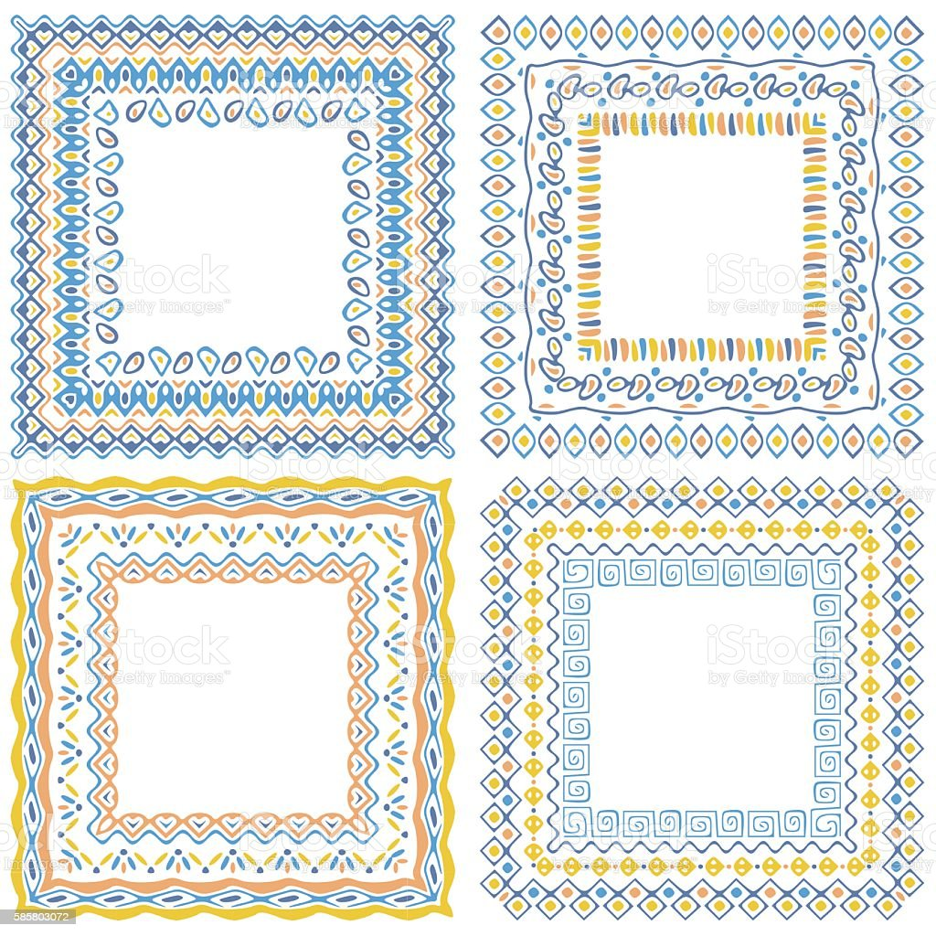 Collection of square pattern frames with brushes vector art illustration