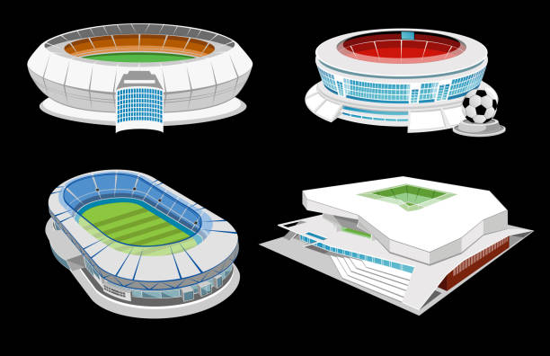 Collection of stadiums Collection of stadiums isolated on black. Eps10 vector illustration. Global colours were used. High resolution jpeg file included(300dpi). stadium stock illustrations