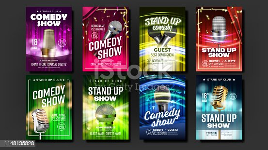 istock Collection Of Stand Up Show Posters Set Vector 1148135828