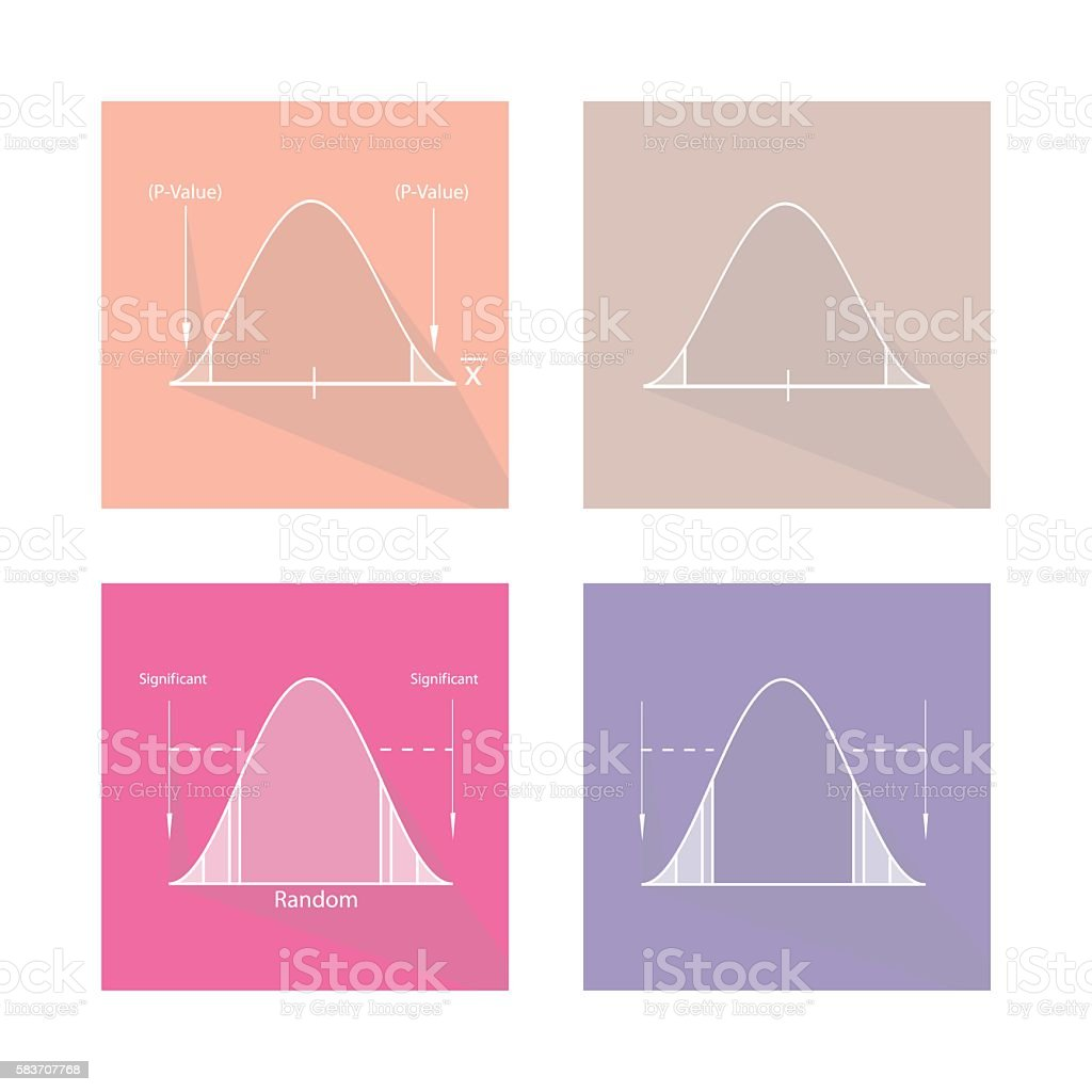 Collection of Standard Normal Distribution Curve Graph vector art illustration