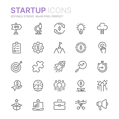 Collection of startup related line icons. 48x48 Pixel Perfect. Editable stroke