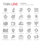 Collection of startup thin line icons