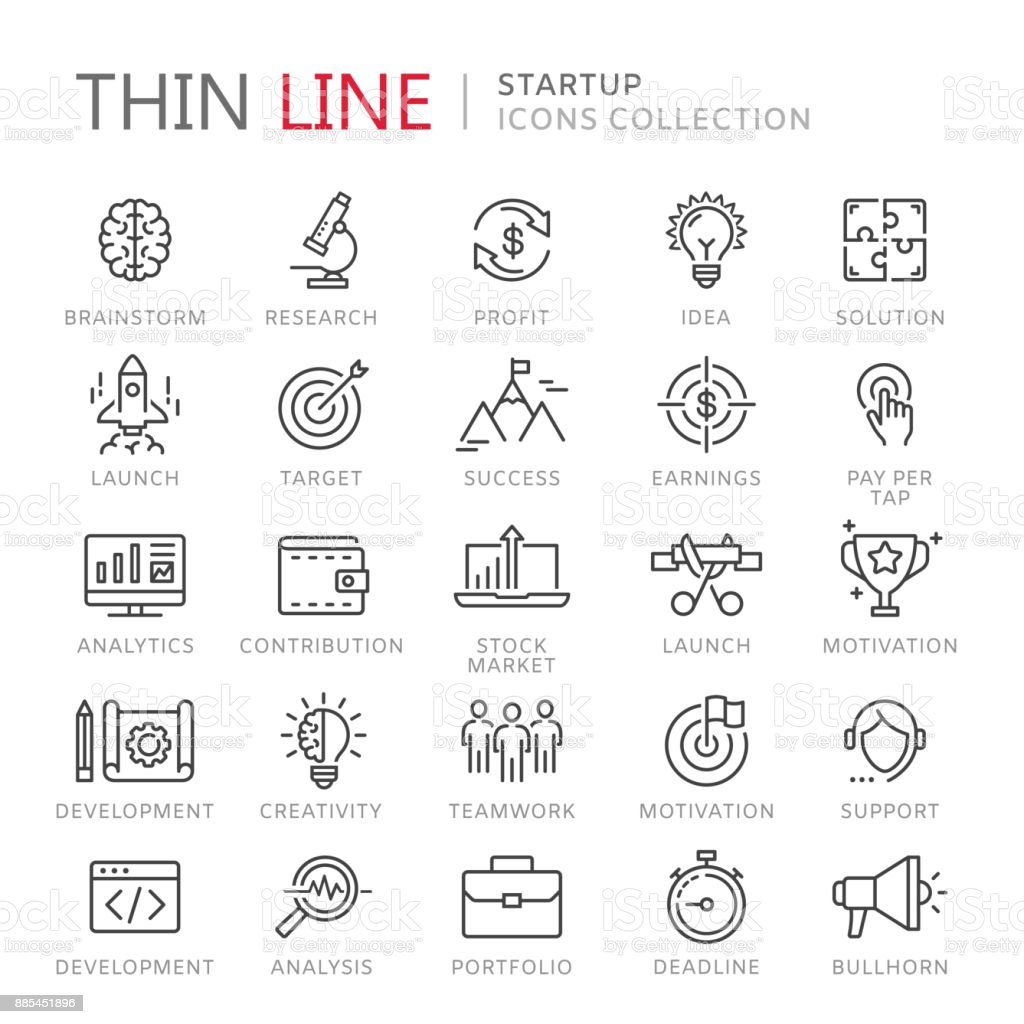 Collection of startup thin line icons vector art illustration