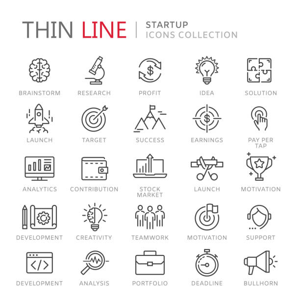 collection of startup thin line icons - business icons stock illustrations, clip art, cartoons, & icons