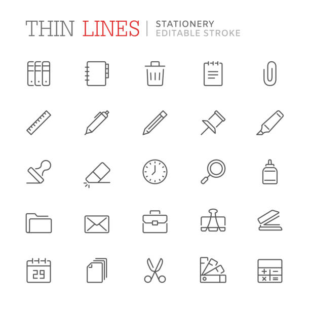Collection of stationery related line icons. Editable stroke Collection of stationery related line icons. Editable stroke stapler stock illustrations