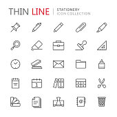 Collection of stationery thin line icons