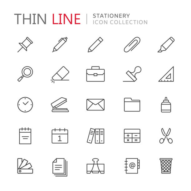 Collection of stationery thin line icons Collection of stationery thin line icons. Vector eps 10 stapler stock illustrations