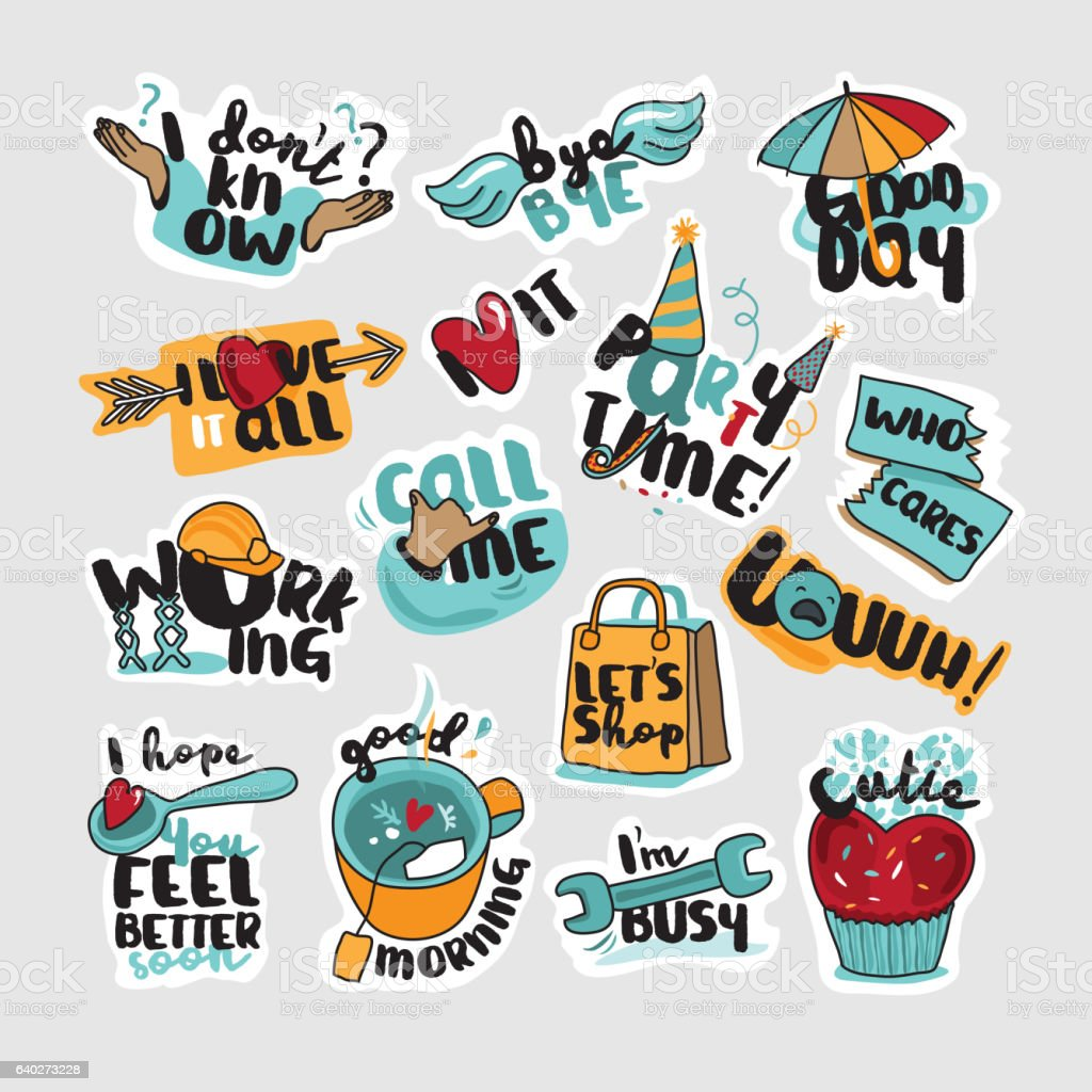 Collection of stickers and signs for social network vector art illustration
