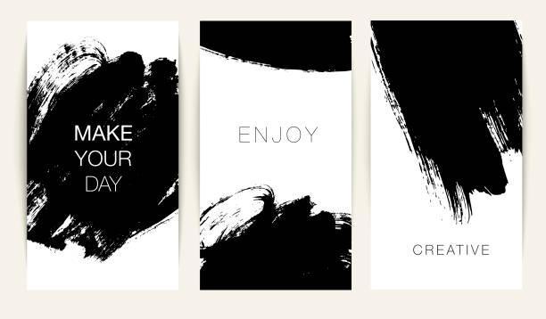 kolekcja szablonu wątków z abstrakcyjnymi pociągnięć pędzla wektorowego. - farba stock illustrations