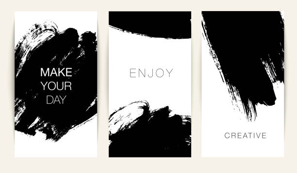 collection of stories template with abstract vector brush strokes. - głaskać stock illustrations