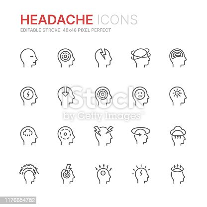 Collection of stress, headache and depression related line icons. 48x48 Pixel Perfect. Editable stroke