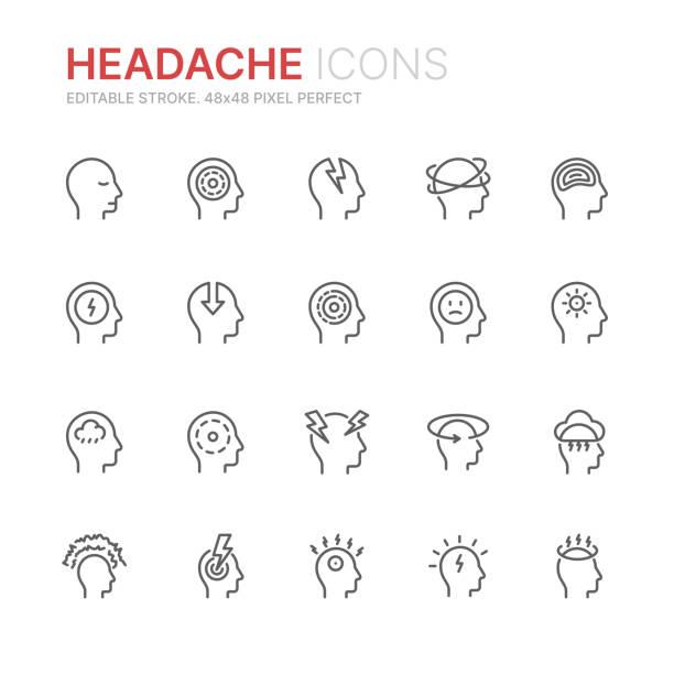 ilustrações, clipart, desenhos animados e ícones de a coleção do stress, da dor de cabeça e da depressão relacionou ícones da linha. 48x48 pixel perfeito. curso editable - cabeça