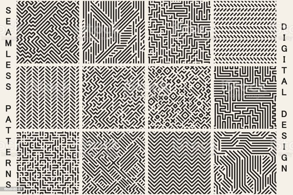 Collection of striped seamless geometric patterns. vector art illustration