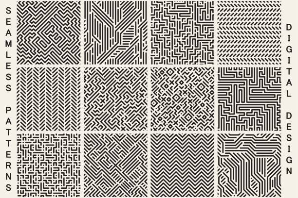 collection of striped seamless geometric patterns. - black and white pattern stock illustrations, clip art, cartoons, & icons