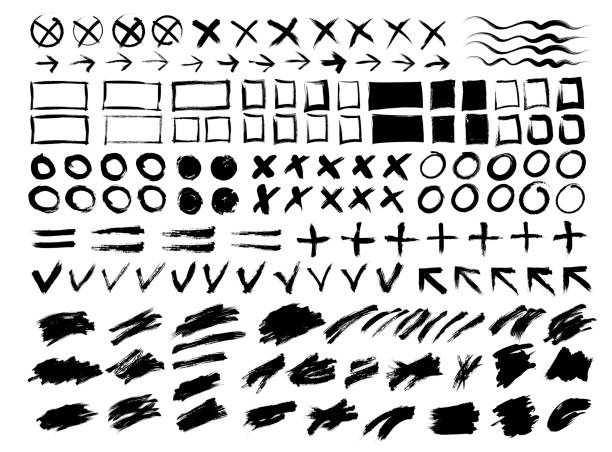 collection of strokes, spots, circles, crosses, arrows, frames, signs, torn backgrounds and lines. hand drawn. vector - szkic rysunek stock illustrations