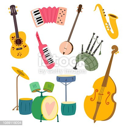 Collection of stylized musical instruments. Vector illustration isolated on white background.