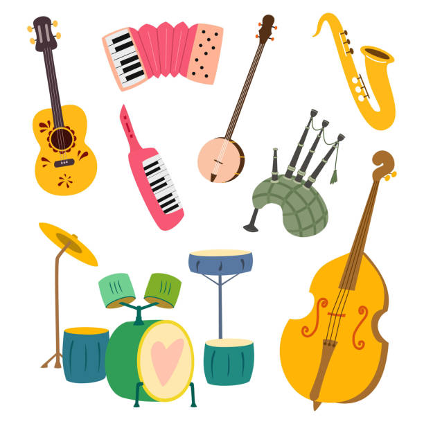 collection of stylized musical instruments. vector illustration isolated on white background. - akordeon instrument stock illustrations