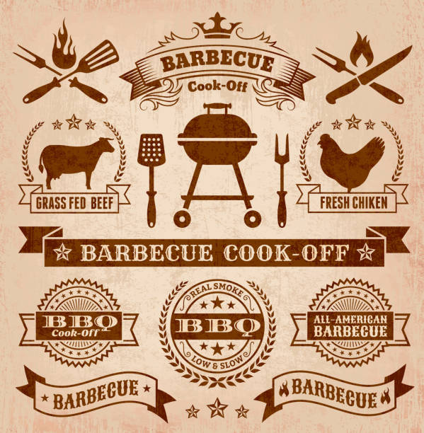 Collection of summer barbecue images An illustration featuring graphics for a barbecue cook-off.  The background of the image is a light shade of a paper brown, while the graphics are darker brown.  The center is taken up by a brown banner reading