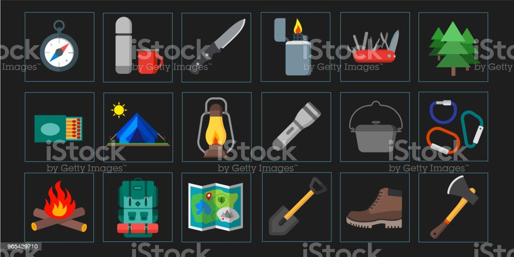 Collection of summer camping, outdoor icons. Isolated vector illustration. Suitable for print, banners and presentation collection of summer camping outdoor icons isolated vector illustration suitable for print banners and presentation - stockowe grafiki wektorowe i więcej obrazów bez ludzi royalty-free