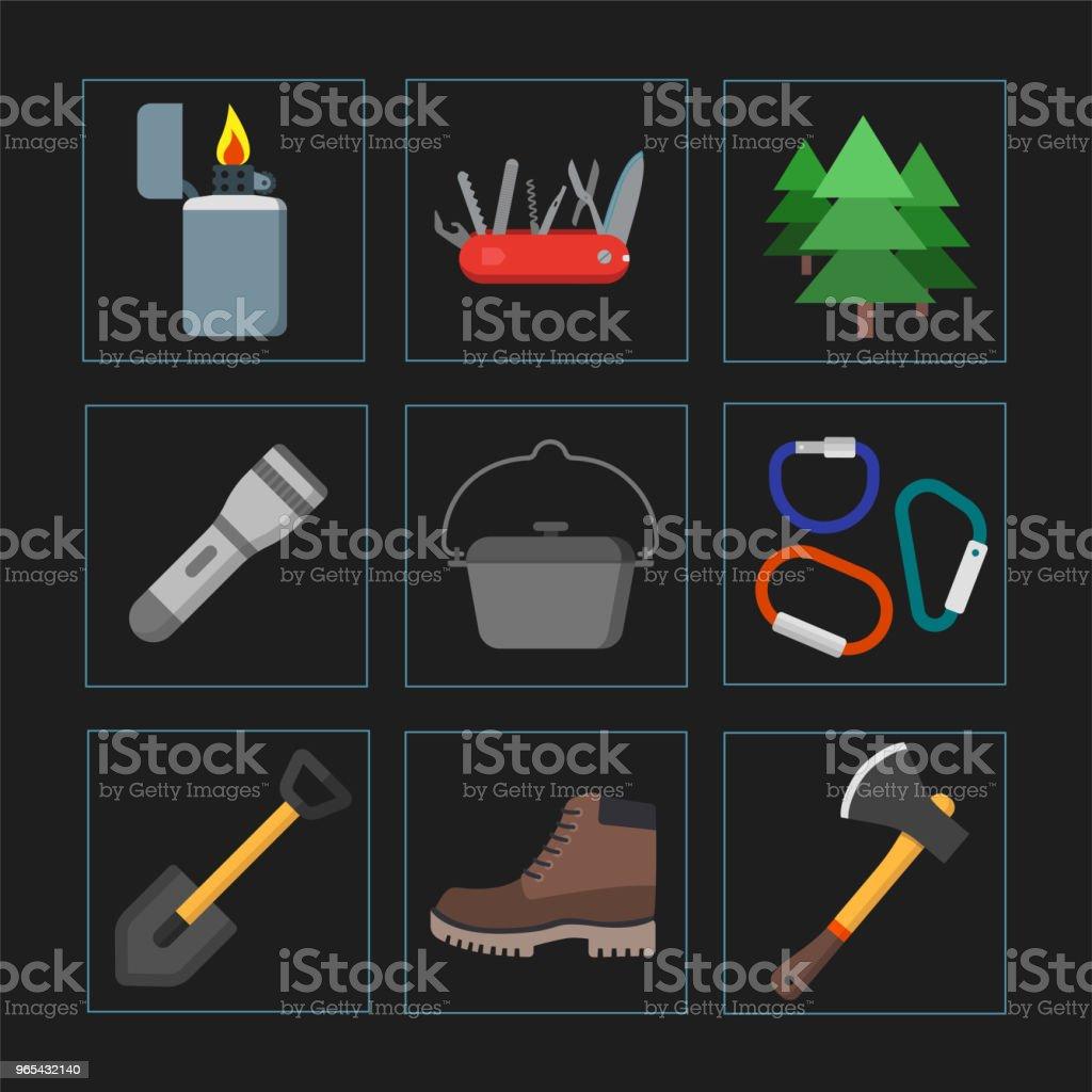 Collection d'icônes de camping, plein air l'été. Illustration vectorielle isolés. Adapté pour l'impression, de bannières et de présentation - clipart vectoriel de Carré - Composition libre de droits