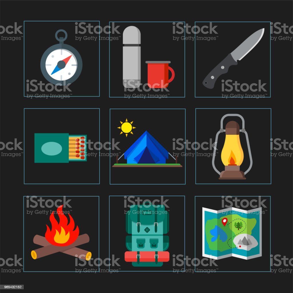 Collection of summer camping, outdoor icons. Isolated vector illustration. Suitable for print, banners and presentation royalty-free collection of summer camping outdoor icons isolated vector illustration suitable for print banners and presentation stock vector art & more images of axe
