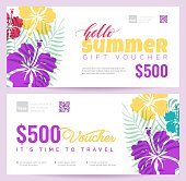 Collection of summer gift vouchers.  Gift certificate for a holiday.  Vector flat illustration