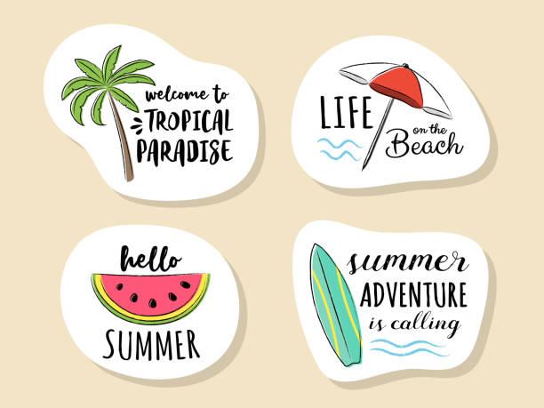 bildbanksillustrationer, clip art samt tecknat material och ikoner med samling av sommaren ikonen med rolig text. vektor. - spain solar