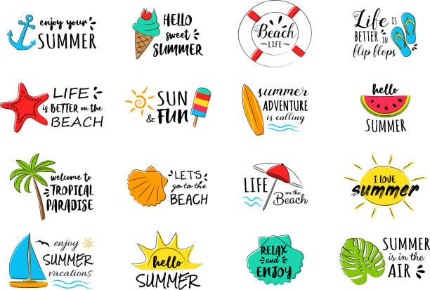 bildbanksillustrationer, clip art samt tecknat material och ikoner med samling av sommaren ikoner - dekorationer med text. vektor. - spain solar